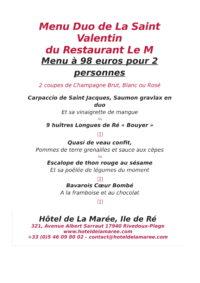 Menu Duo de La Saint Valentin 2019, Hôtel de La Marée, Ile de Ré