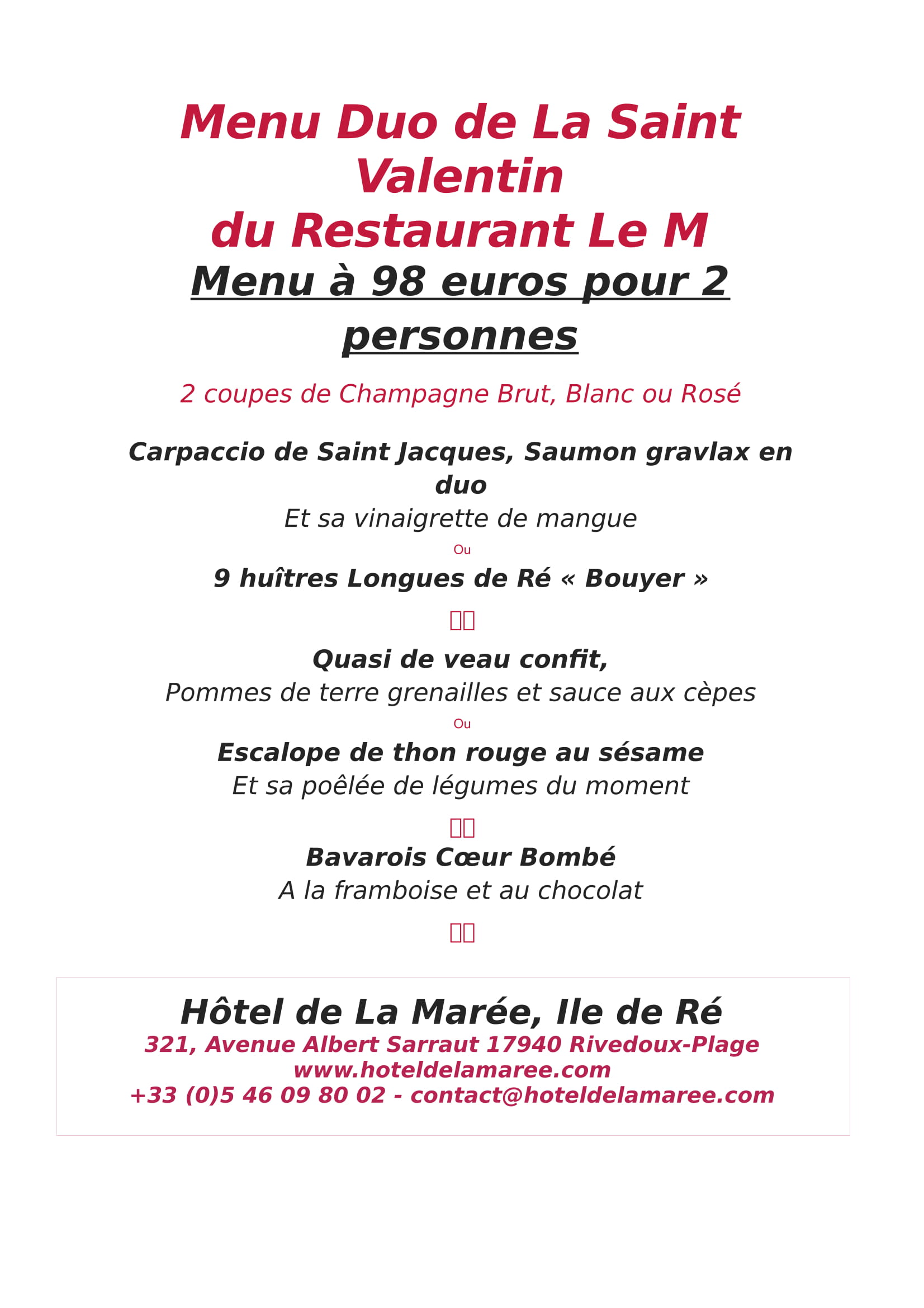 Menu Duo de La Saint Valentin