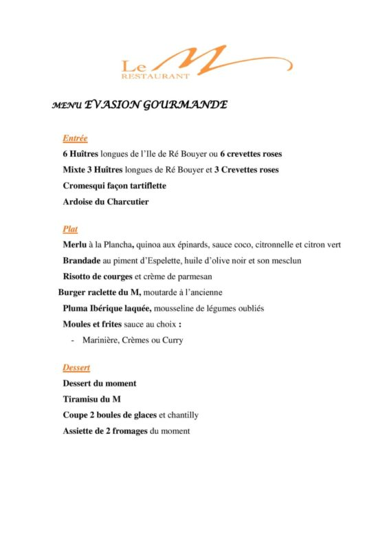 Menu Evasion Gourmande