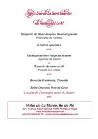 Hotel ile de ré rivedoux-plage 3 étoiles menu saint valentin sur l'ile de ré