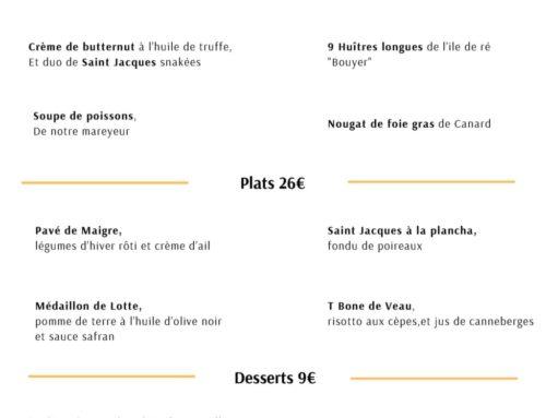 Menu Distinction, saison 2020 – Hotel Restaurant Ile de Ré 3 étoiles