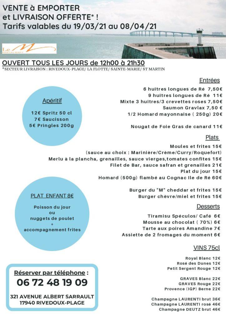 Carte Restaurant Le M Hotel de La Marée - Ile de Ré, carte à emporter, plateau en chambre - printemps 2021