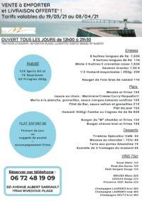Carte Restaurant Le M Hotel de La Marée - Ile de Ré, à emporter, plateau en chambre - printemps 2021