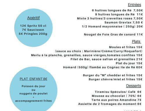 Carte Restaurant Le M Hotel de La Marée – Ile de Ré, à emporter, plateau en chambre – printemps 2021